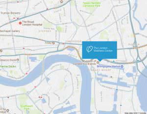 Map showing location of London Wellness Centre chiropractor in Canary Wharf